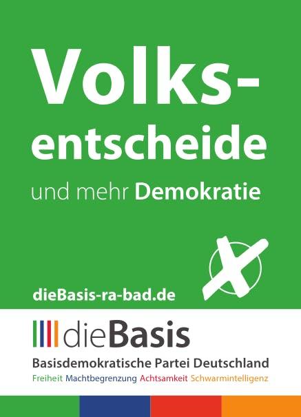 Aufkleber: 140 Stück DIN A7 - Die Basis: Volksentscheide und mehr Basisdemokratie