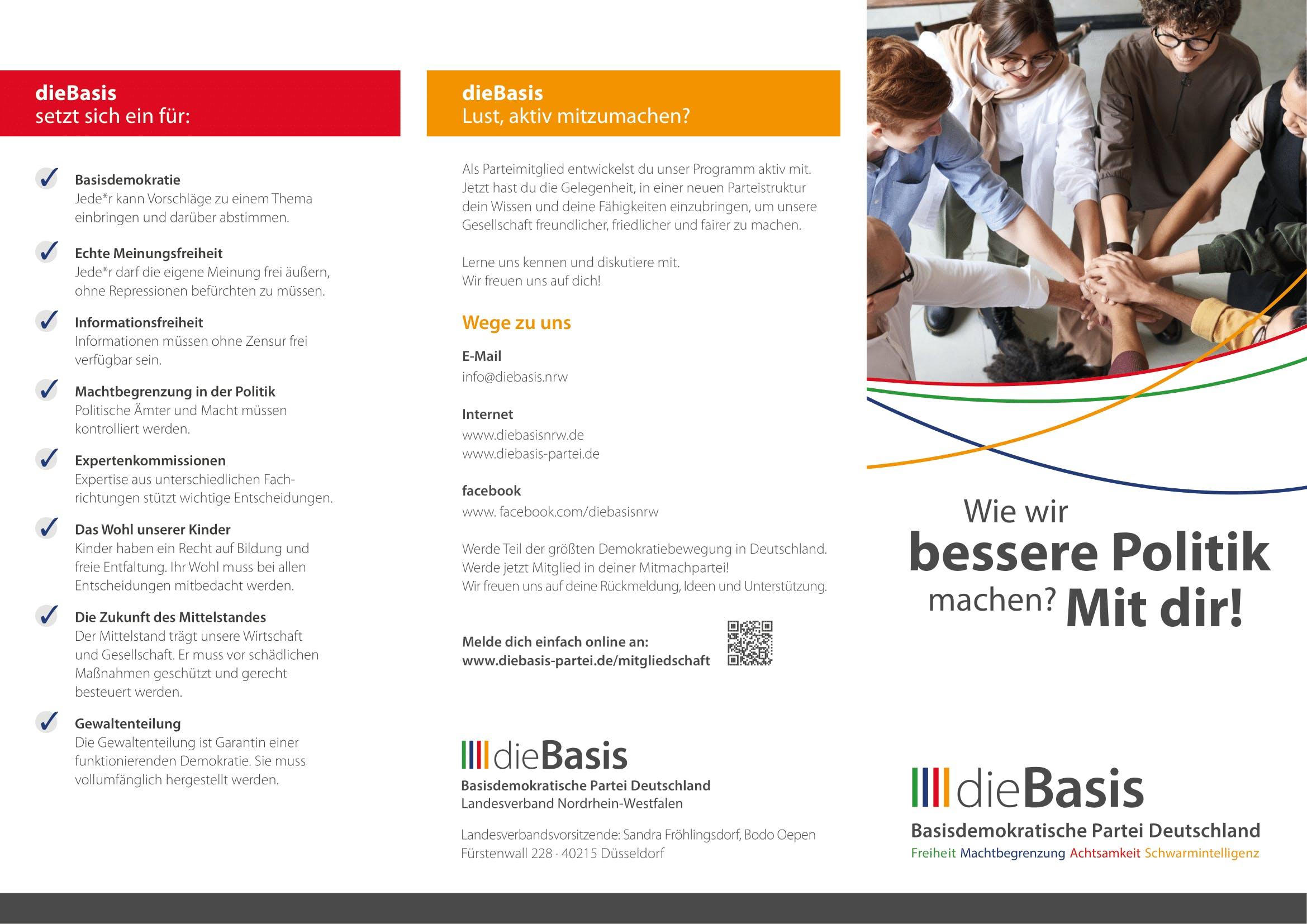 Flyer: Die Basis NRW - Wie wir bessere Politik machen? Mir Dir! (gefalzt auf DIN lang, 6-seiter, Wickelfalz)