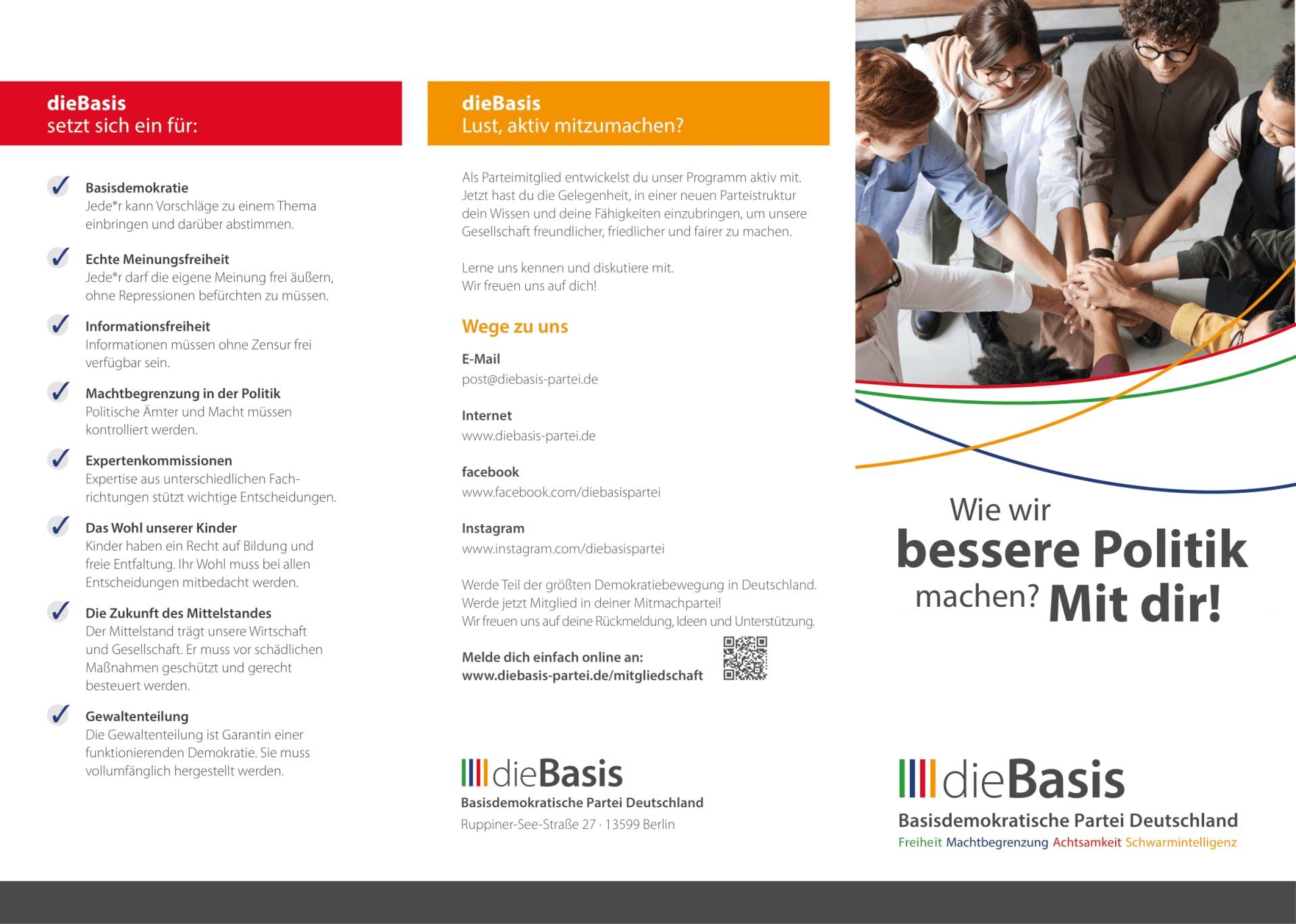 Flyer: Die Basis BUND- Wie wir bessere Politik machen? Mir Dir! (Gefalzt auf DIN lang, 6-seiter Wickelfalz)
