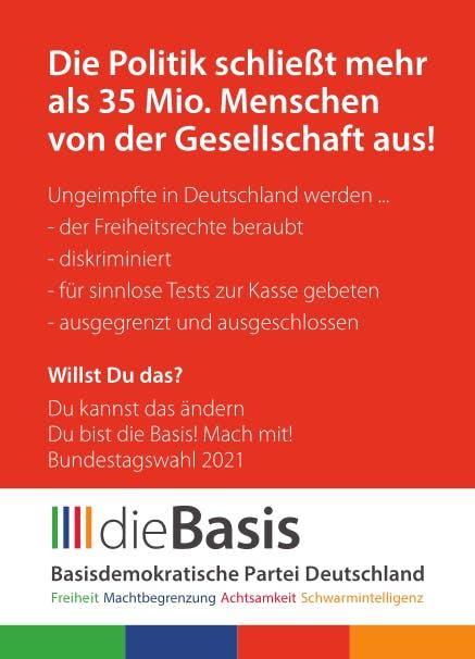 Aufkleber: 140 Stück DIN A7 - Die Basis:  Die Politik schließt mehr als 35 Mio. aus