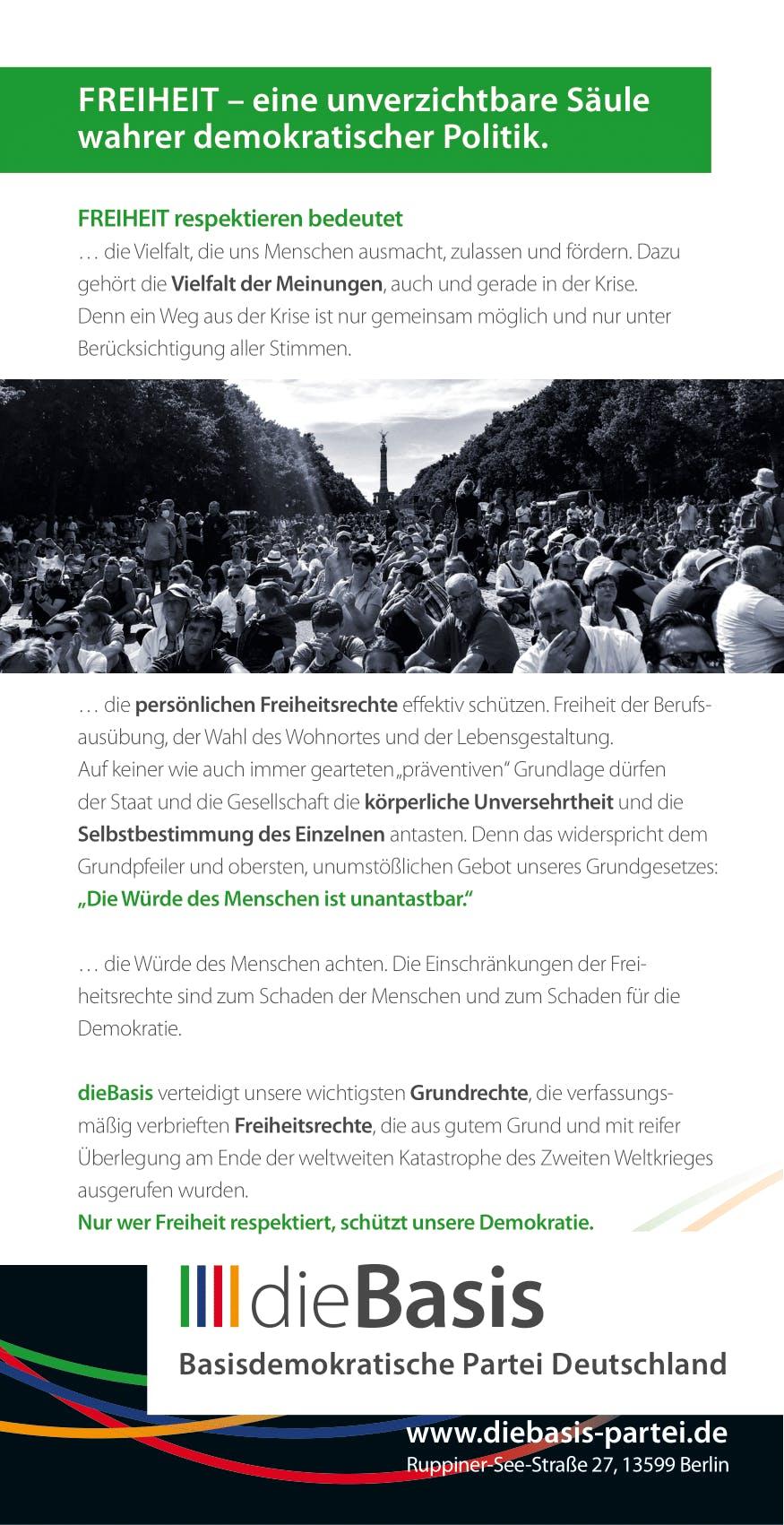 Flyer: Die Basis Themenflyer - Unser aller Freiheit braucht eine neue Basis (DIN lang 10,5 cm x 21,0 cm, beidseitig bedruckt)