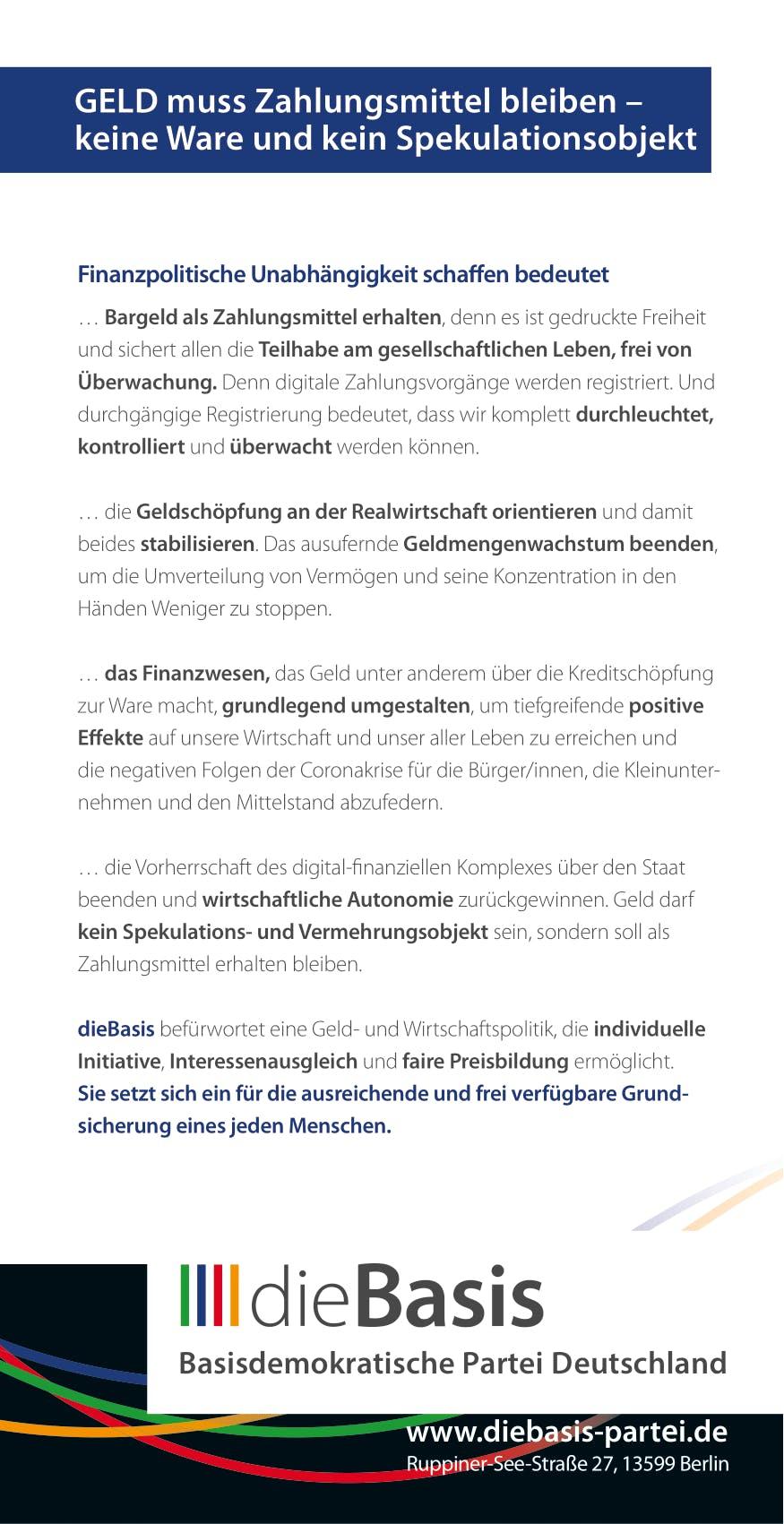 Flyer: Die Basis Themenflyer - Die Geldpolitik braucht eine neue Basis (DIN lang 10,5 cm x 21,0 cm, beidseitig bedruckt)