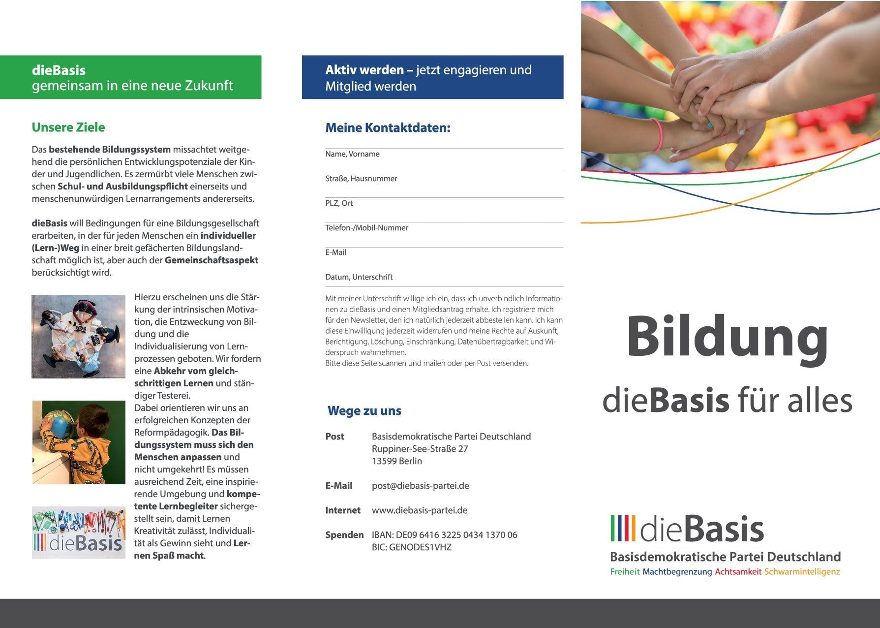 Flyer: Die Basis - Bildung, die Basis für alles