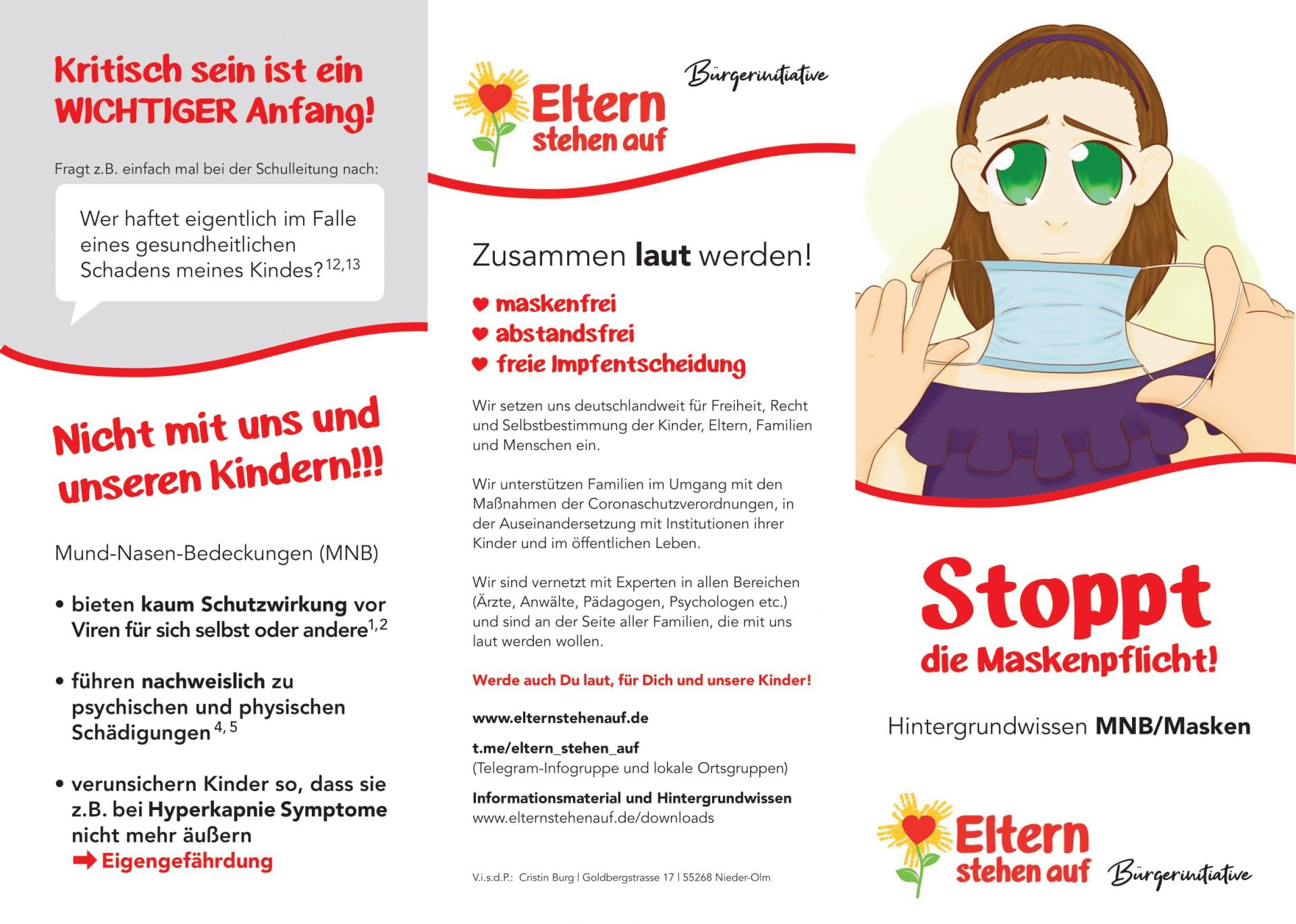 Flyer: versch. Formate - DIN A5 - Eltern stehen auf: Stoppt die Maskenpflicht