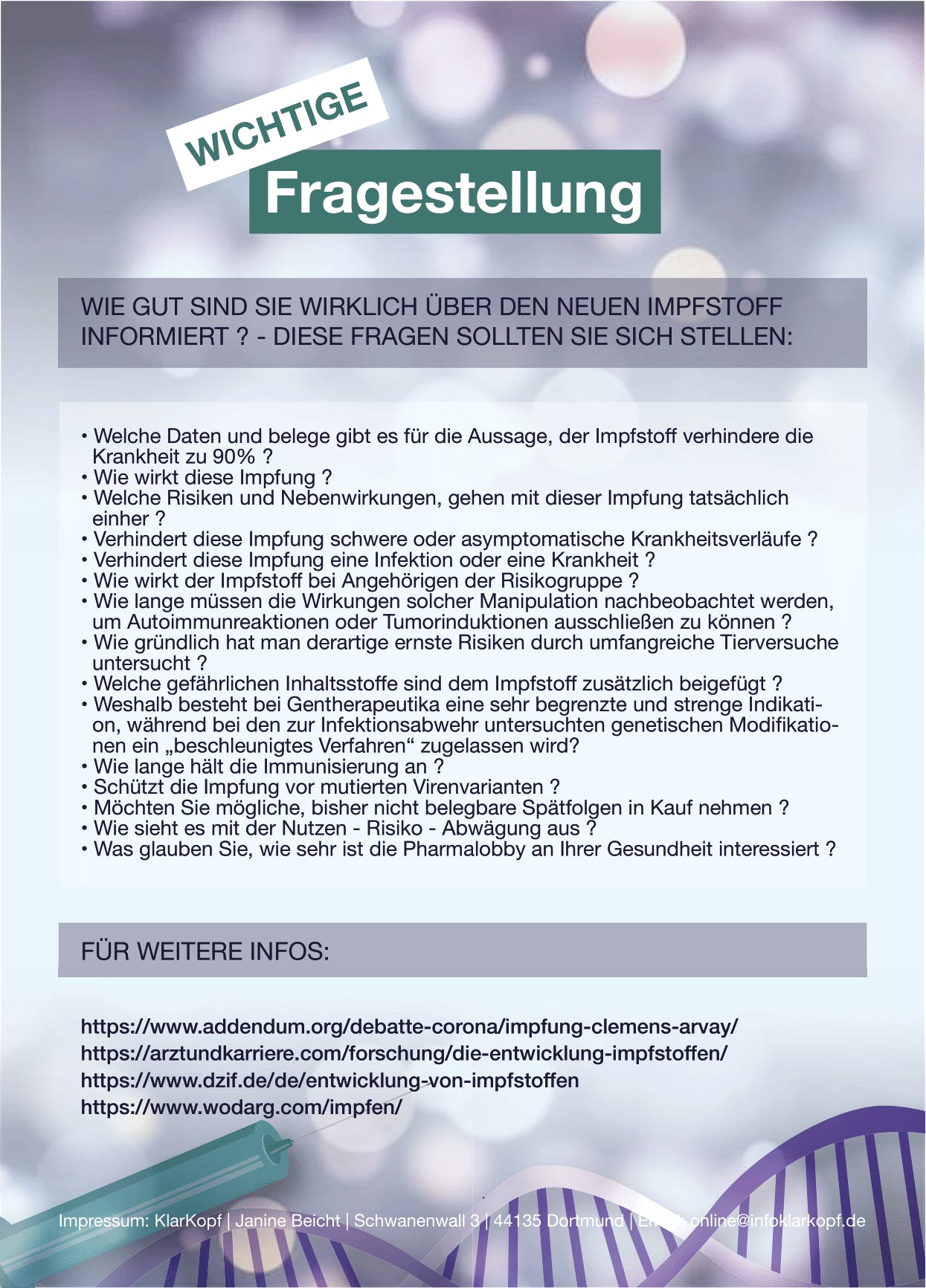 Flyer: DIN A5 -Wichtige Impfinformation (Impfstoff A5 Druck)