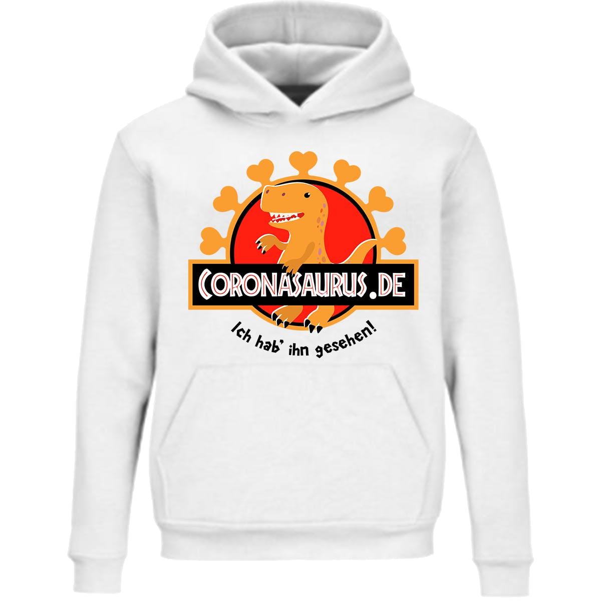 Hoodie: Coronasaurus - Ich hab ihn gesehen! (weiß)