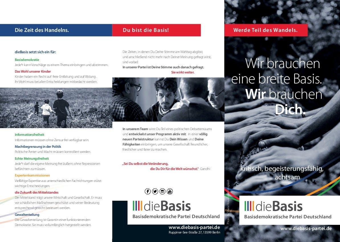 Flyer: Die Basis - Wir brauchen eine breite Basis, wir brauchen Dich