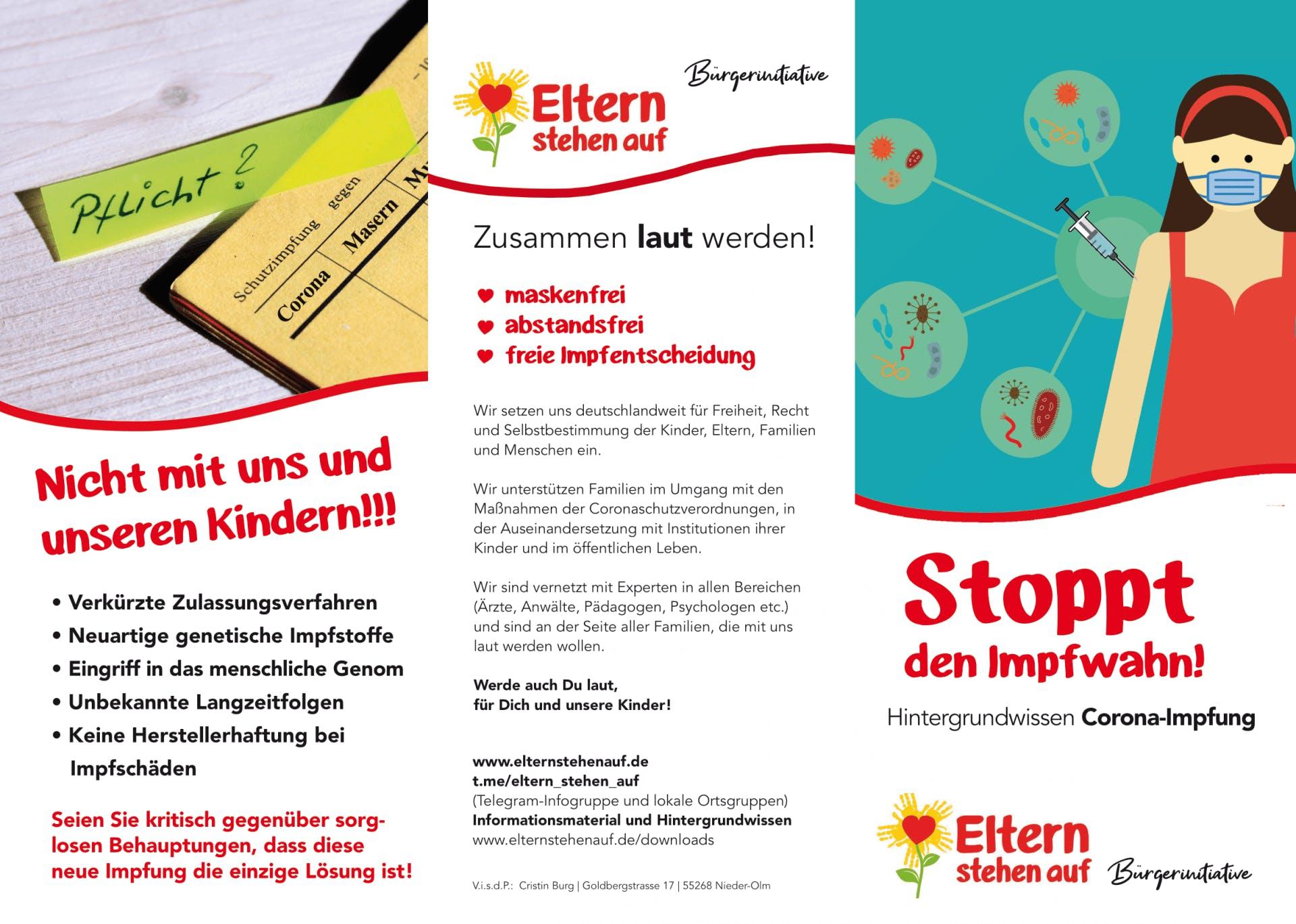 Flyer: versch. Formate. - Eltern stehen auf: Stoppt den Impfwahn!