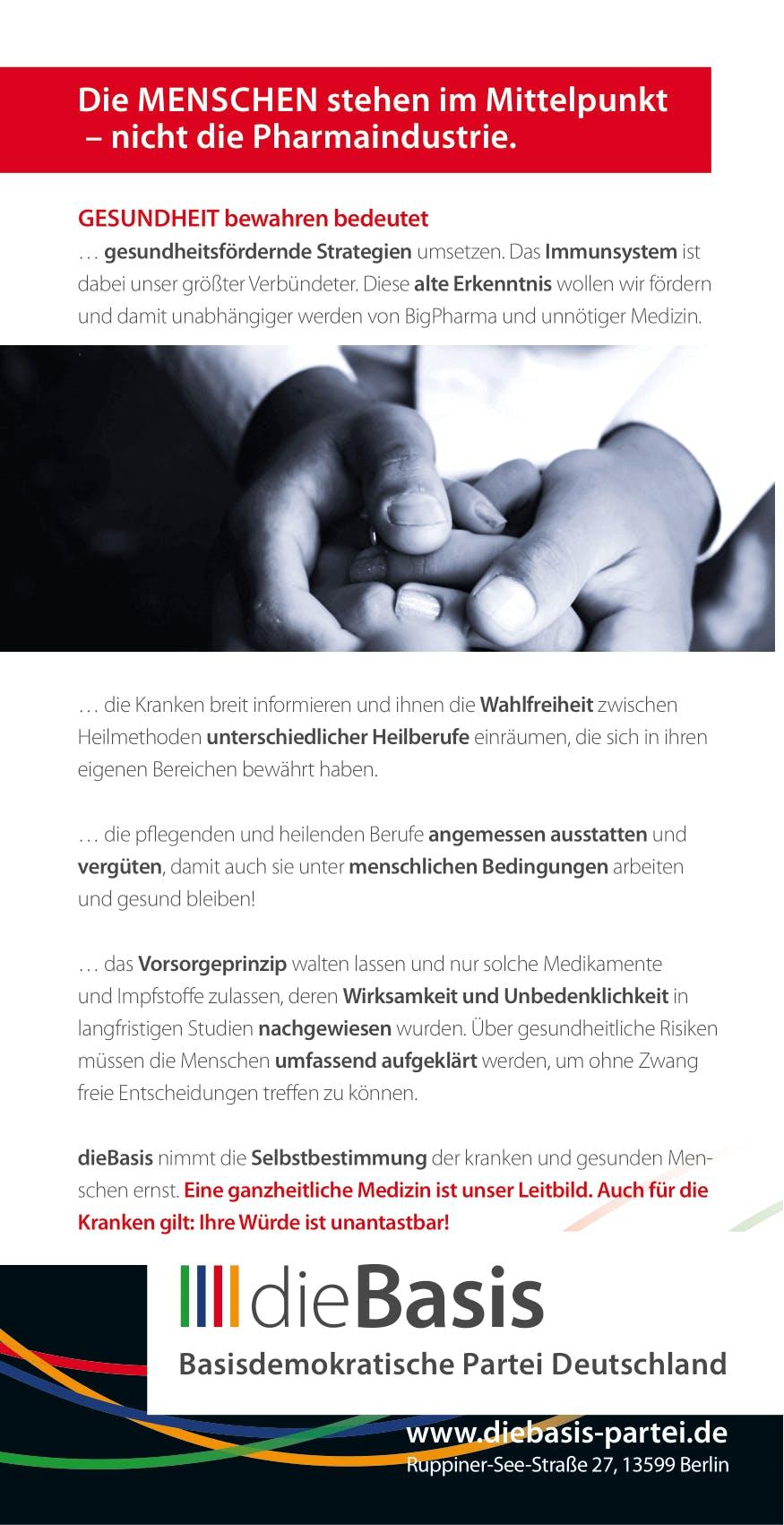 Flyer: Die Basis Themenflyer - Unser Gesundheitssystem braucht eine neue Basis (DIN lang 10,5 cm x 21,0 cm, beidseitig bedruckt)