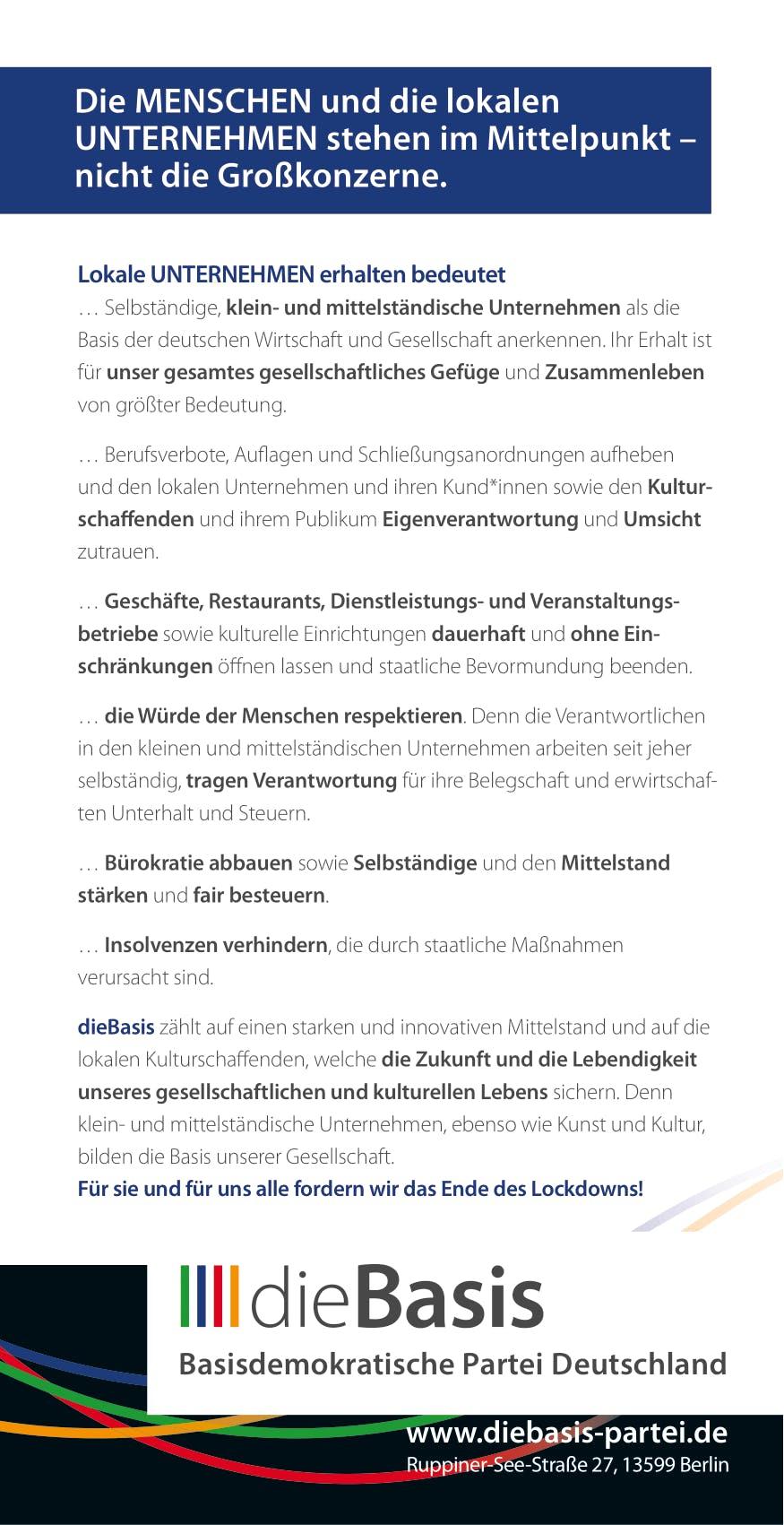 Flyer: Die Basis Themenflyer - Die Unternehmen brauchen eine neue Basis (DIN lang 10,5 cm x 21,0 cm, beidseitig bedruckt)
